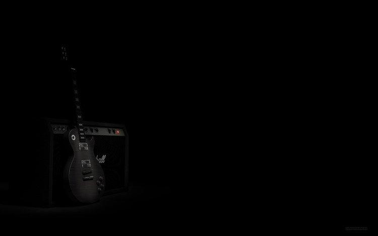 гитара, тьма, динамик, блака, guitar, darkness, speaker, black