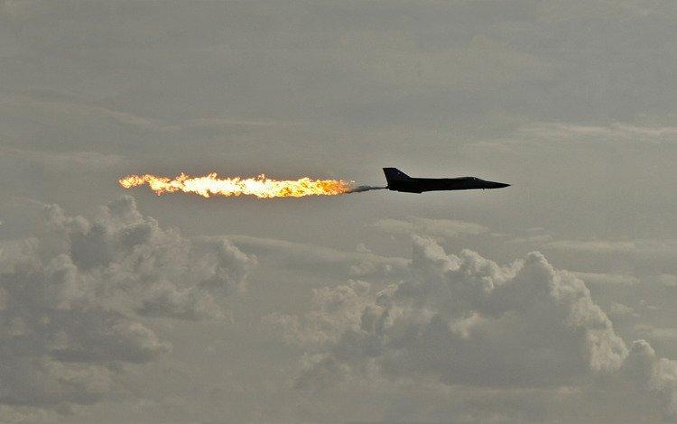небо, пламя, полет, силуэт, the sky, flame, flight, silhouette
