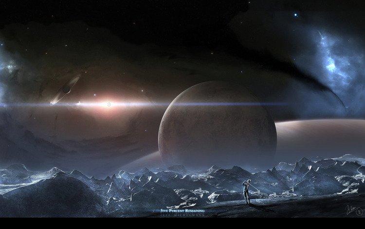 planet, the universe, golf, astronaut