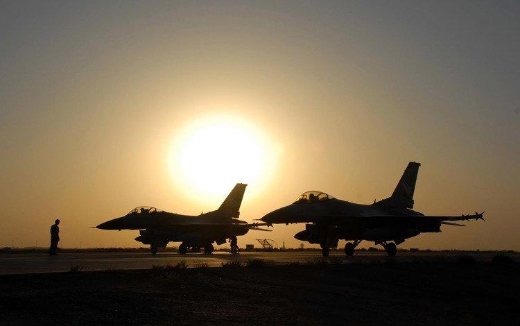 закат, истребители, красиво, sunset, fighters, beautiful