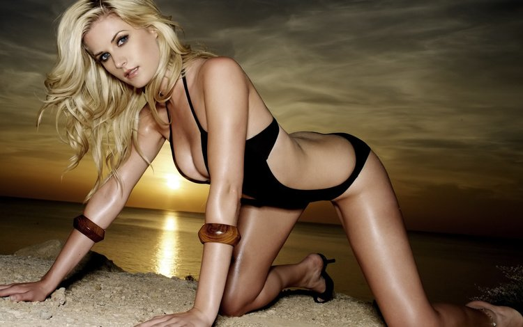 закат, девушка, поза, блондинка, модель, sarah dunn, sunset, girl, pose, blonde, model