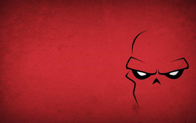 рисунок, картина, минимализм, минимаизм, redskull, красный череп, figure, picture, minimalism, red skull