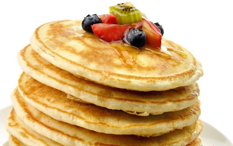 еда, фрукты, ягоды, киви, сладкое, мед, десерт, блинчики, food, fruit, berries, kiwi, sweet, honey, dessert, pancakes