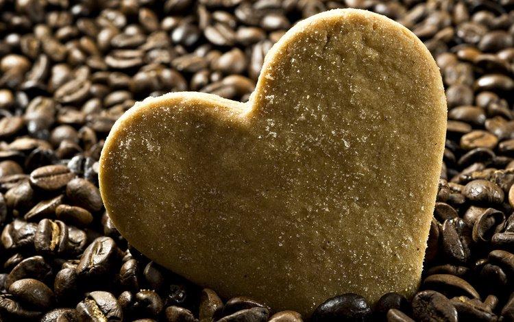 еда, зерна, кофе, форма, сердце, печенье, food, grain, coffee, form, heart, cookies
