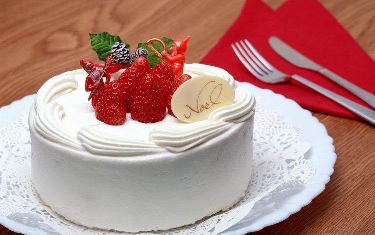 клубника, праздник, с новым годом, кулич, no__l, noel, creme, счастливого рождества, елочная, сладенько, sweet, strawberry, holiday, happy new year, cake, merry christmas, christmas
