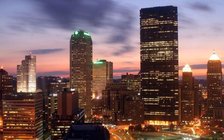 огни, небоскребы, дома, улица, сша, питтсбург, lights, skyscrapers, home, street, usa, pittsburgh
