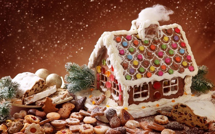 new year, sweets, holiday, christmas, cookies, cakes, biscuit, snowfall, gingerbread, gingerbread house, sweet house, powder