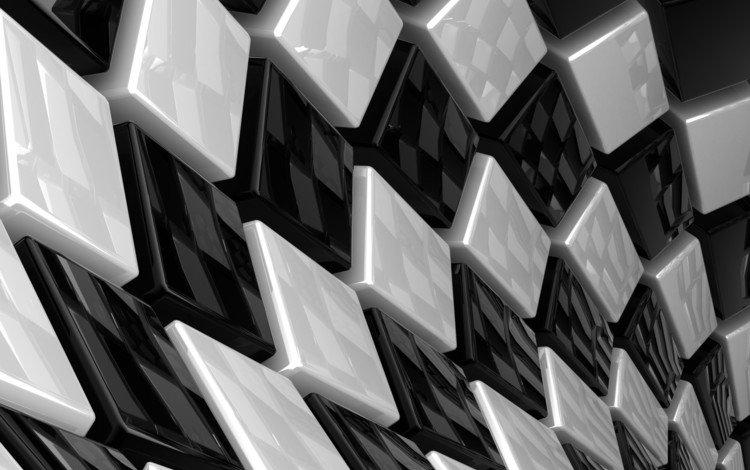кубики, белые, кубы, чёрные, квадратики, 3д, cubes, white, cuba, black, squares, 3d
