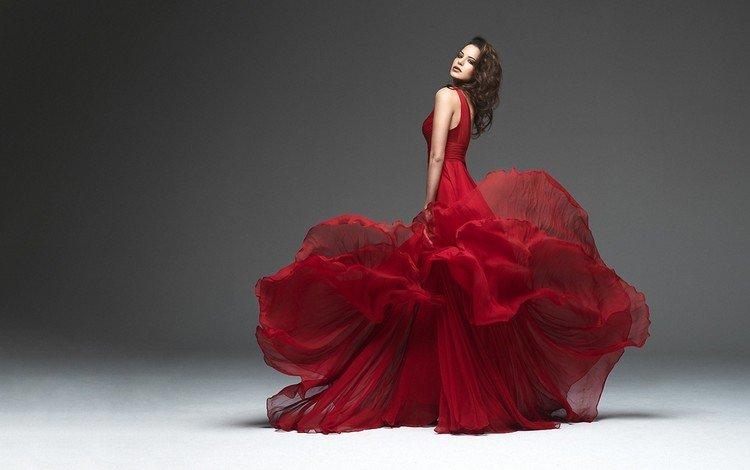 платье, брюнетка, красное, dress, brunette, red