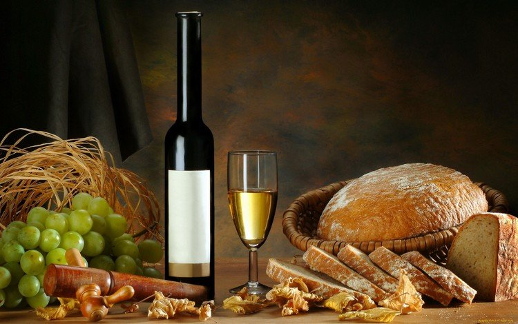 виноград, хлеб, вино, grapes, bread, wine