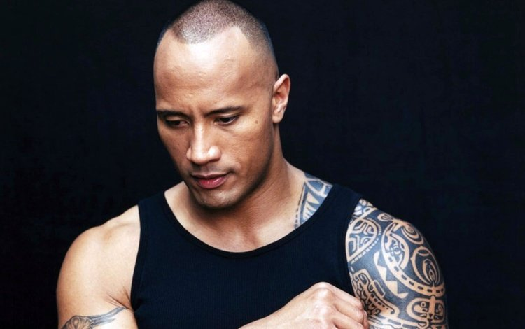 actor, tattoo, black background, dwayne johnson