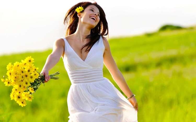 цветы, девушка, радость, букет, flowers, girl, joy, bouquet