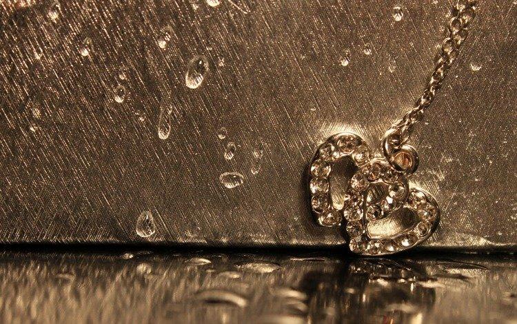 макро, украшение, отражение, цепочка, капли, сердце, любовь, сердечки, золото, кулон, macro, decoration, reflection, chain, drops, heart, love, hearts, gold, pendant