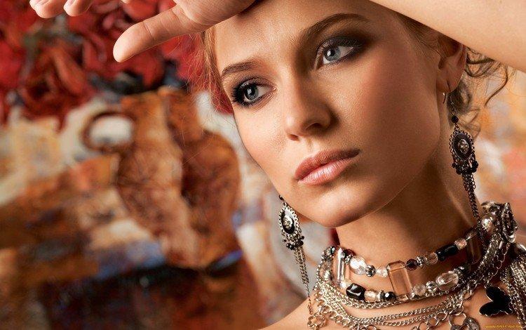 украшения, рыжеволосая, девушка, портрет, модель, лицо, сёрьги, ожерелье, бижутерия, decoration, redhead, girl, portrait, model, face, earrings, necklace, jewelry