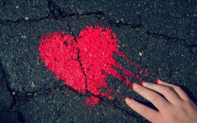 рука, сердечко, краска, сердце, асфальт, hand, heart, paint, asphalt