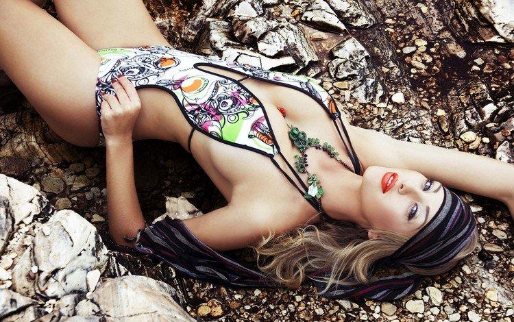 girl, blonde, model, swimsuit, waist