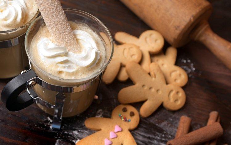 кофе, сладкое, печенье, десерт, рождественское печенье, пряничный человечек, ирландский крем, coffee, sweet, cookies, dessert, christmas cookies, the gingerbread man, irish cream