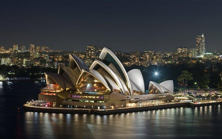 ночь, здание, сидней, австралия, опера, театр, night, the building, sydney, australia, opera, theatre
