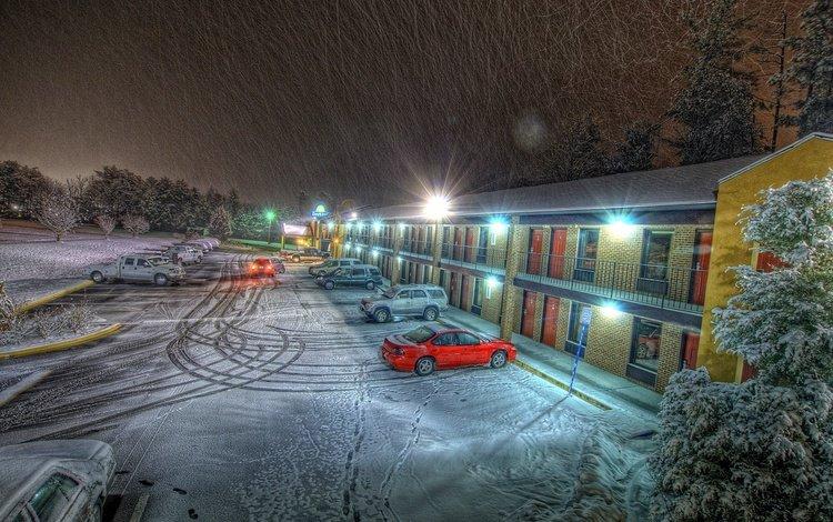 огни, вечер, снег, дом, машины, мотель, lights, the evening, snow, house, machine, motel