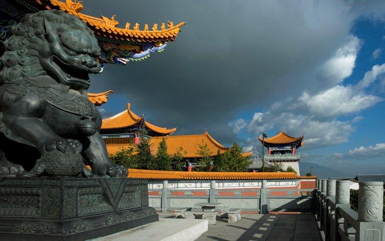 небо, облако, дракон, дома, китай, скульптура, the sky, cloud, dragon, home, china, sculpture