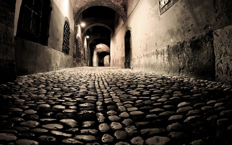 ночь, улица, брусчатка, night, street, pavers