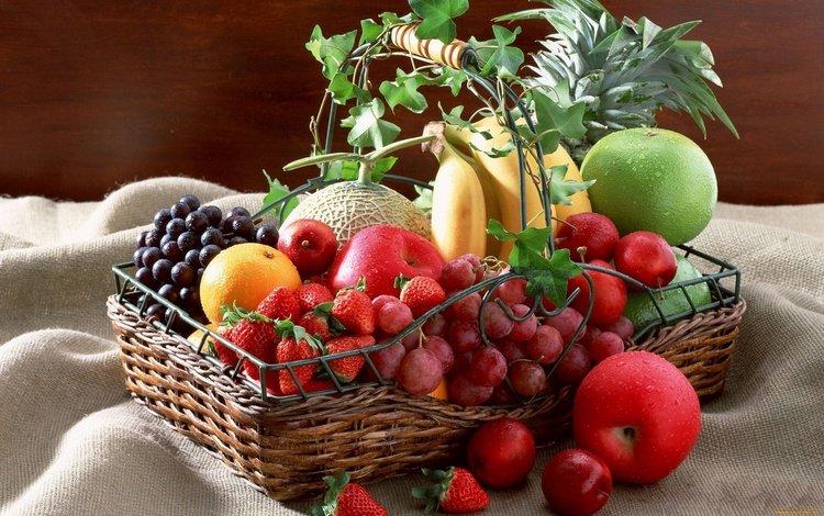 виноград, ананас, фрукты, дыня, яблоки, слива, клубника, ягоды, мандарин, корзинка, бананы, grapes, pineapple, fruit, melon, apples, drain, strawberry, berries, mandarin, basket, bananas