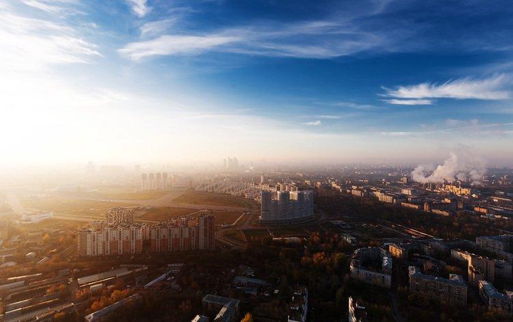 солнце, вид, москва, панорама, город, россия, the sun, view, moscow, panorama, the city, russia
