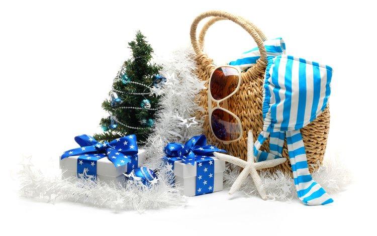 новый год, сумка, очки, подарки, морская, звезда, гирлянда, ёлочка, коробки, new year, bag, glasses, gifts, sea, star, garland, herringbone, box