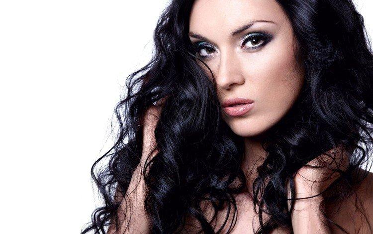 глаза, распущенные, брюнетка, взгляд, модель, волосы, губы, макияж, красивая девушка, eyes, loose, brunette, look, model, hair, lips, makeup, beautiful girl