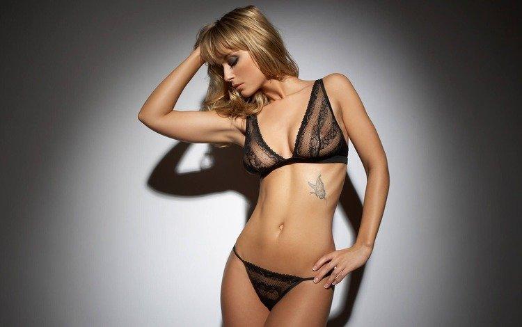 blonde, tattoo, underwear