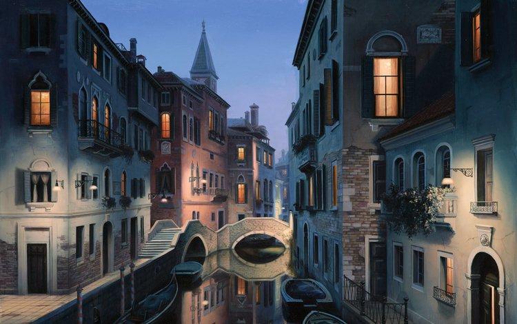 вода, здания, мост, сумерки, город, живопись, венеция, канал, гондола, дома, улица, water, building, bridge, twilight, the city, painting, venice, channel, gondola, home, street