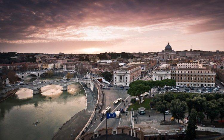 река, восход, панорама, мост, италия, рим, river, sunrise, panorama, bridge, italy, rome