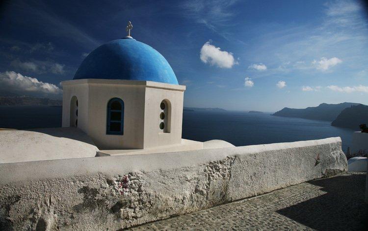небо, облака, церковь, греция, санторини, the sky, clouds, church, greece, santorini