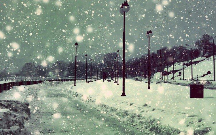 фонари, снег, зима, снежинки, набережная, снегопад, lights, snow, winter, snowflakes, promenade, snowfall