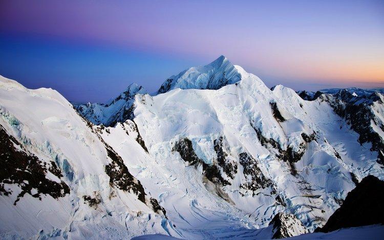 небо, горы, снег, природа, закат, зима, снежные вершины, the sky, mountains, snow, nature, sunset, winter, snowy peaks