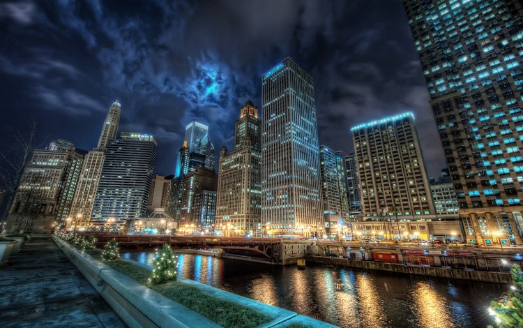 панорама, канал, небоскребы, ночной город, чикаго, panorama, channel, skyscrapers, night city, chicago