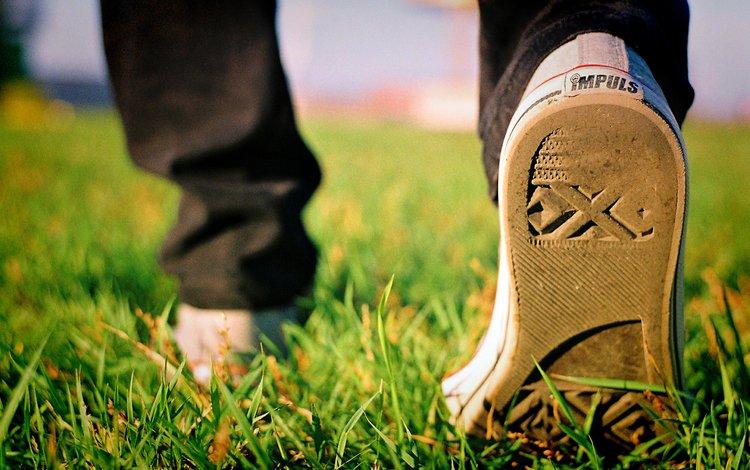 трава, осень, кеды, grass, autumn, sneakers