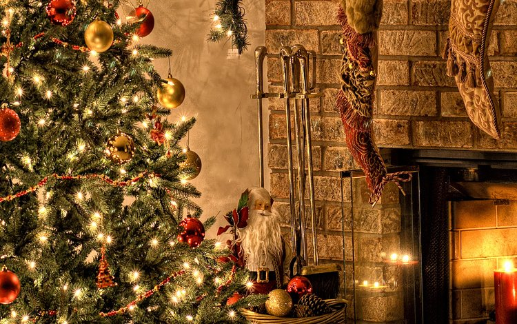 новый год, елка, зима, красивые обои, камин, рождество, new year, tree, winter, beautiful wallpaper, fireplace, christmas