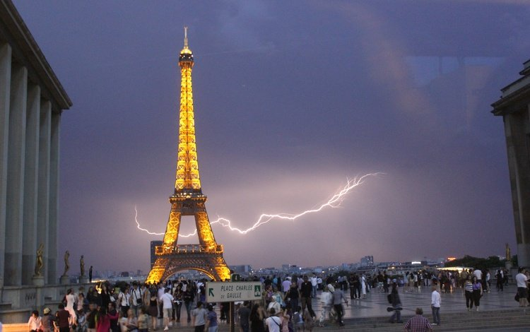 молния, париж, франция, эйфелева башня, lightning, paris, france, eiffel tower