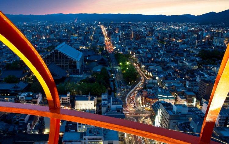 огни, япония, киото, вечерний город, вид с высоты, lights, japan, kyoto, evening city, the
