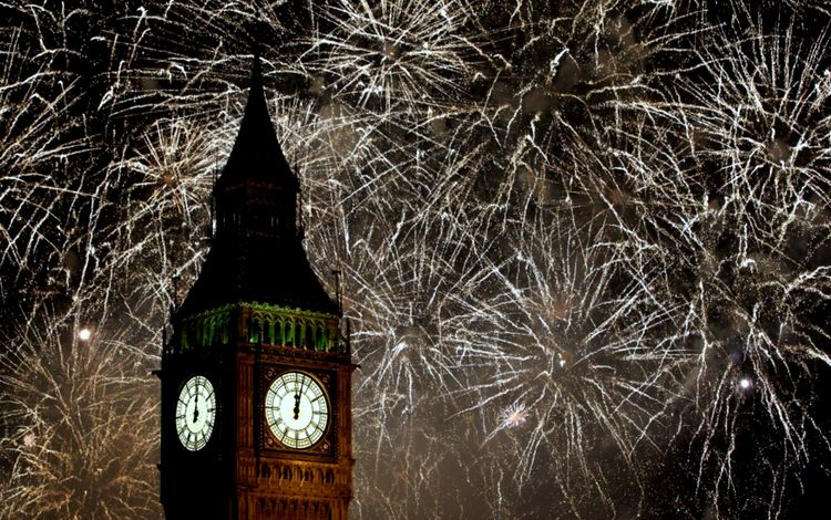 новый год, лондон, фейерверк, биг бен, new year, london, fireworks, big ben