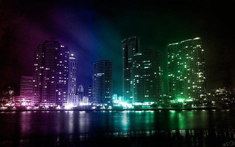 свет, небоскребы, залив, ночной город, light, skyscrapers, bay, night city