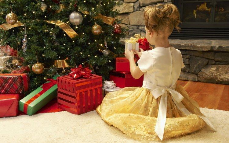 новый год, елка, зима, подарки, девочка, ребенок, сочельник, new year, tree, winter, gifts, girl, child, christmas eve