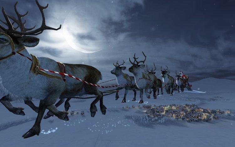 новый год, зима, олени, санта клаус, новогодние олени, new year, winter, deer, santa claus, christmas reindeer