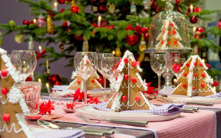новый год, елка, зима, стол, елочки, сладкое, украшение, печенье, new year, tree, winter, table, christmas trees, sweet, decoration, cookies