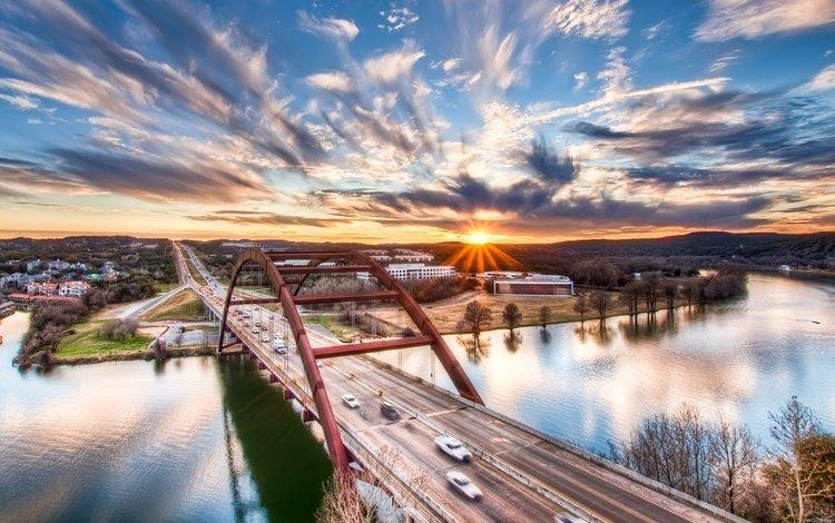 река, солнце, мост, город, river, the sun, bridge, the city