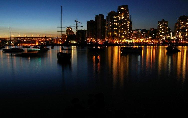 огни, вечер, лодки, залив, катера, lights, the evening, boats, bay
