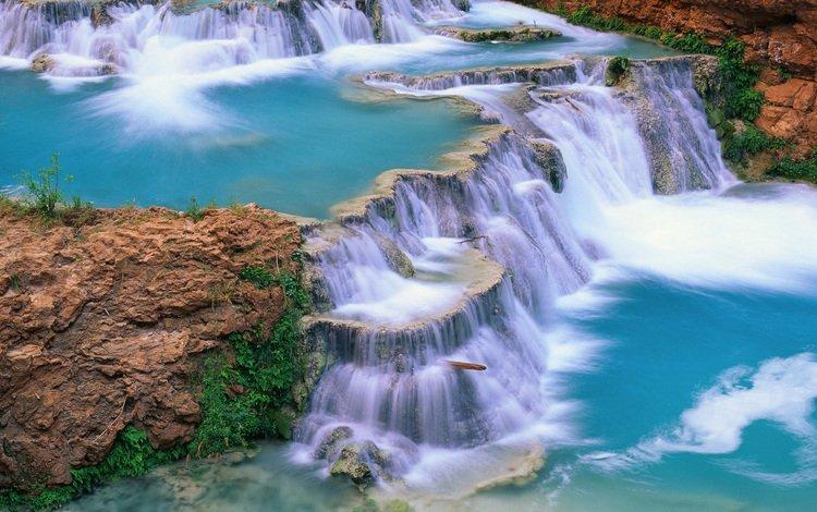 река, пейзаж, водопад, красиво, river, landscape, waterfall, beautiful