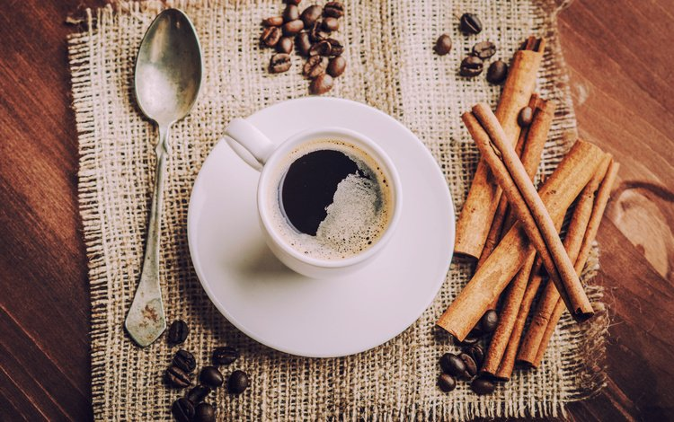 напиток, корица, кофе, блюдце, чашка, салфетка, кофейные зерна, ложка, drink, cinnamon, coffee, saucer, cup, napkin, coffee beans, spoon