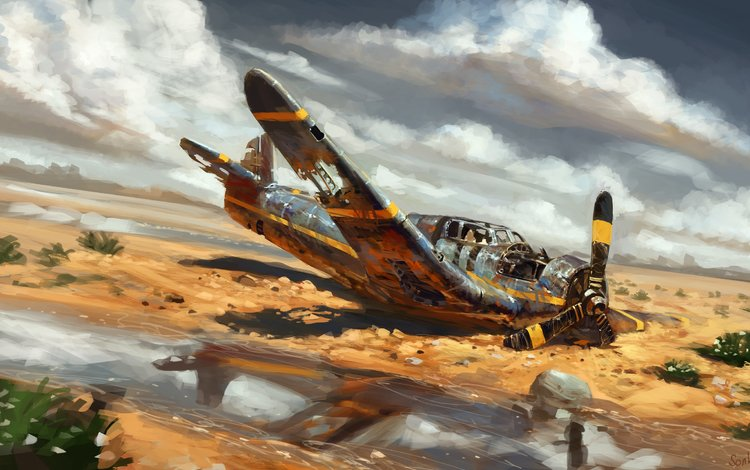 арт, самолет, aviaciya, pustynya, art, the plane